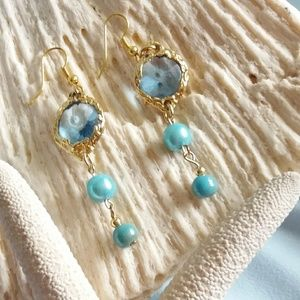 Aqua blue stone earrings